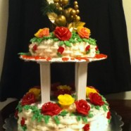 Two Tier Rosy sponge cake