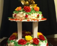 Two Tier Rosy sponge cake