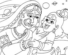 Lord Krishna Showing The Universal Form To Yashoda
