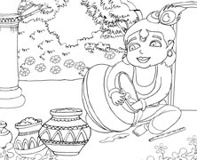Lord Krishna Eating Butter From A Pot