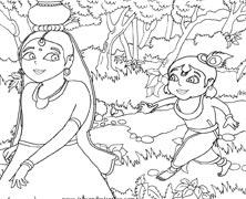 Lord Krishna Following A Gopi