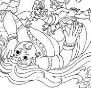 Lord Krishna Killing Putana