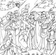 Lord Krishna With Asta Sakhis