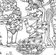 Lord Krishna With The Fruit Seller Lady