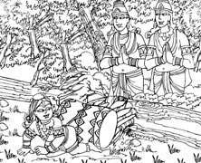 Nalakuvera and Managriva Offering Prayers to Lord Krishna